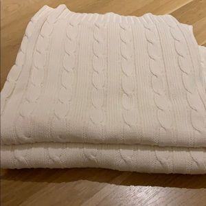 Ralph Lauren Cream Cable-knit  Blanket